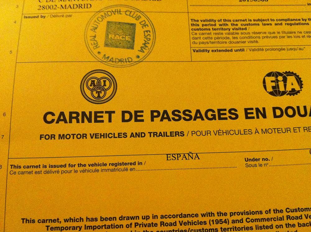 Carnet de passages o CDP Vandeviaje